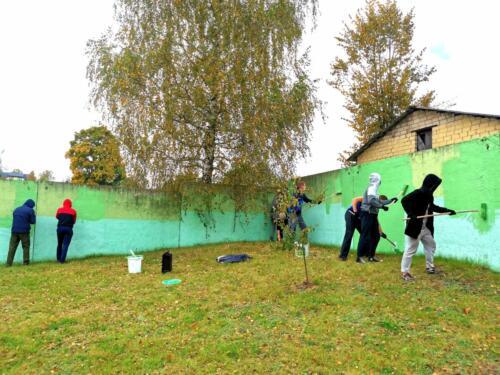 Помощь волонтеров ЦПК МВД Республики Беларусь в благоустройстве территории